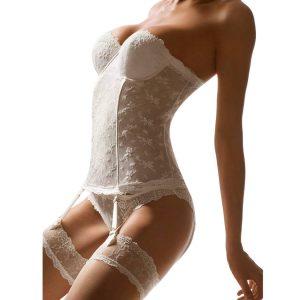 lingerie de mariage guepiere blanche dentelle aubade