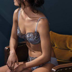 lingerie dentelle satinée bleu