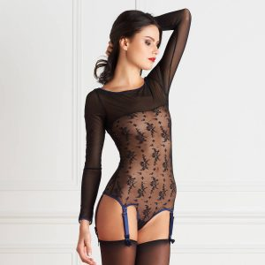 body porte-jarretelles dentelle fleurie lingerie sexy maison close