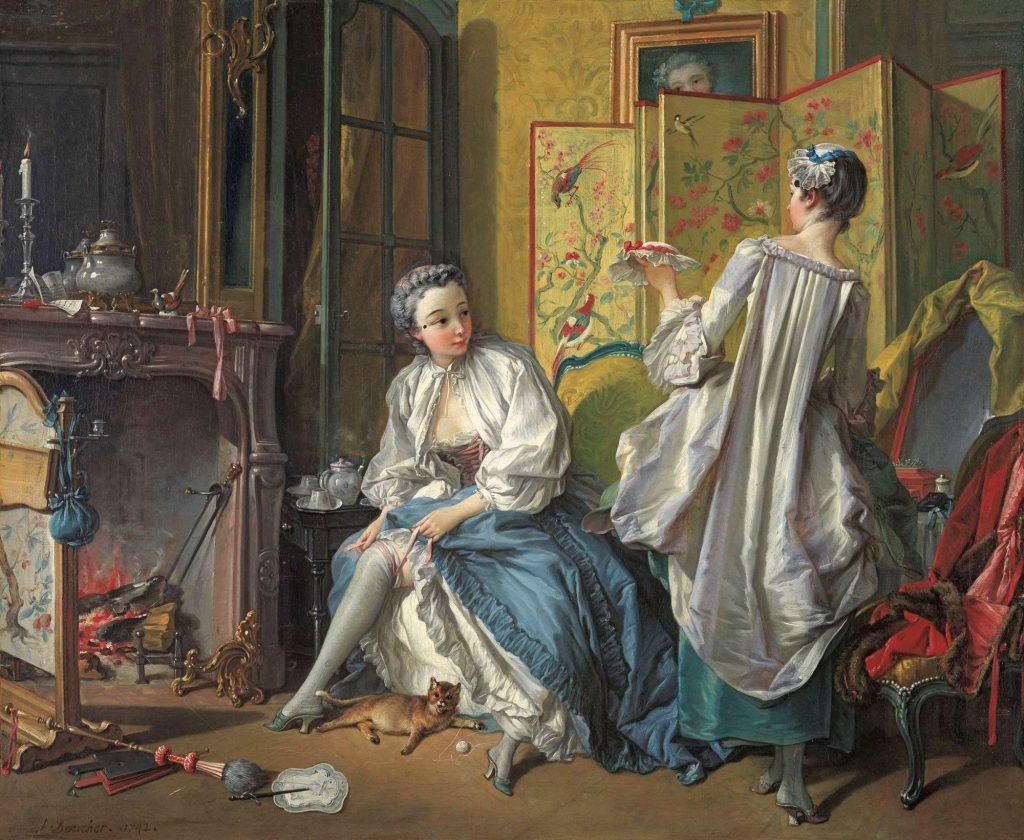 Femme nouant sa jarretière